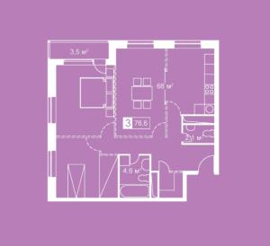 Планировка 3-комнатной квартиры в Атмосфера